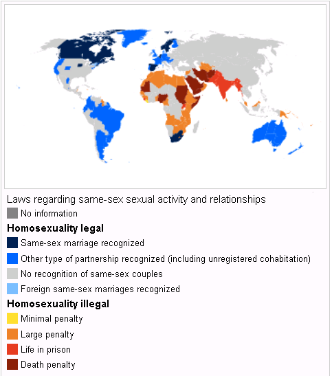 Map of Homosexuality laws around the world