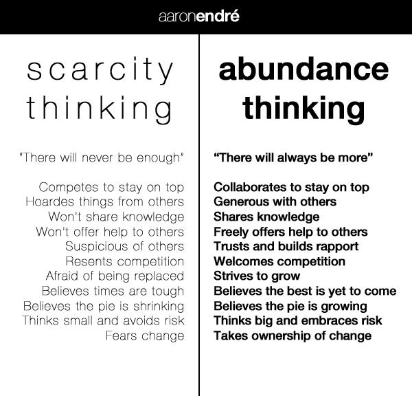 Scarcity thinking vs. Abundance thinking